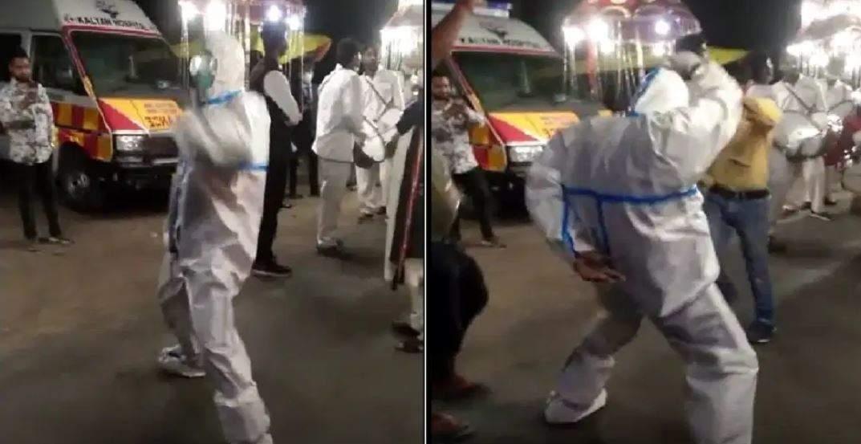 हल्द्वानी |एंबुलेंस चालक ने PPE किट पहनकर कियाबारात में डांस, देखिए वायरल वीडियो